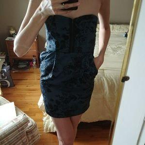 Sexy Blue & Black Mini Dress Silence & Noise Sz S